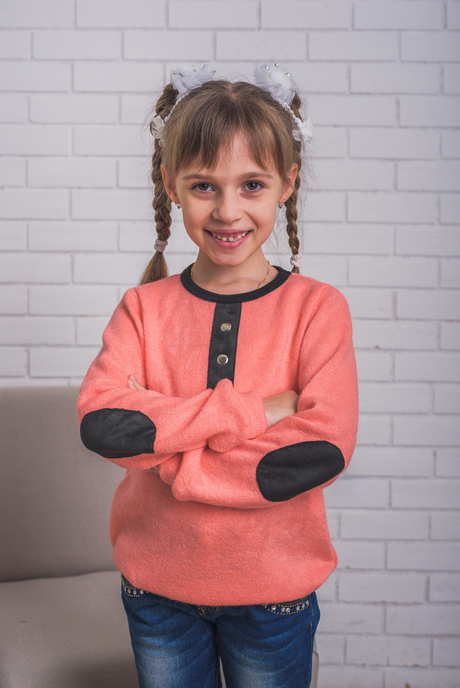 Детская кофта из ангоры с латками, персиковая