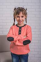 Детская кофта из ангоры с латками, персиковая, фото 1