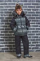 """Зимний стеганный костюм """"Олени"""" темно-серый, фото 1"""