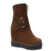 Ботинки высокие из натуральной замши, коричневые