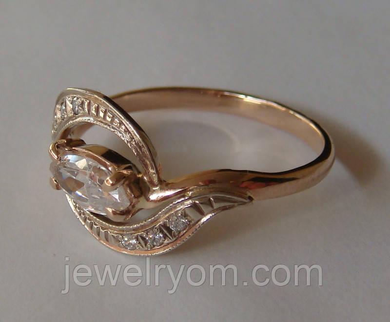 Кольцо К00582М, золото 585 проба, кубический цирконий.
