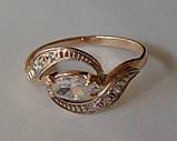 Кольцо К00582М, золото 585 проба, кубический цирконий., фото 2