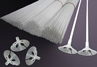 Белые палочки и розетки для шаров (40 см)