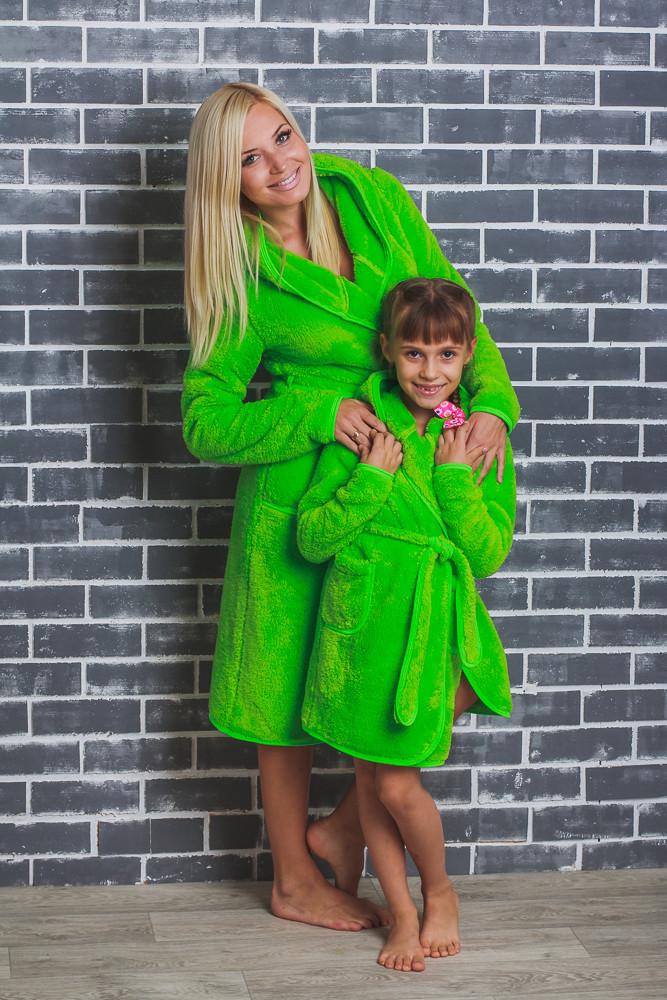Детский махровый халат на запах салатовый
