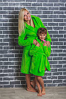 Дитячий махровий халат на запах салатовий, фото 1