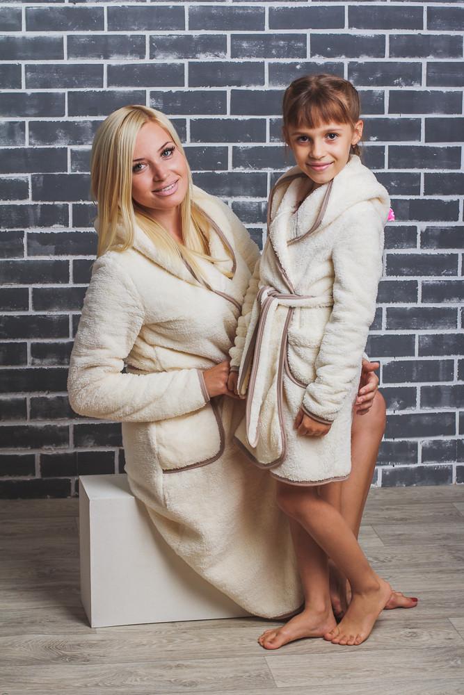 Детский махровый халат на запах молочный, фото 1