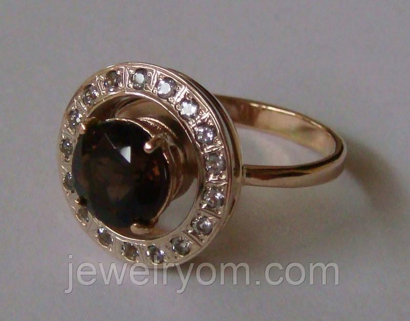 Кольцо женское 100890ЮМ, золото 585 проба, топазы.