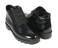 Женские стильные лаковые ботинки под рептилию