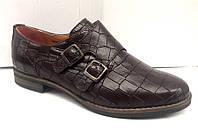 Туфли женские кожа рептилии коричневые Uk0330