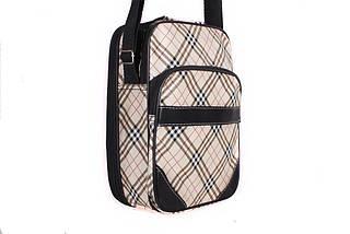 Мужская сумка тканевая со вставками из экокожи через плечо бежевая
