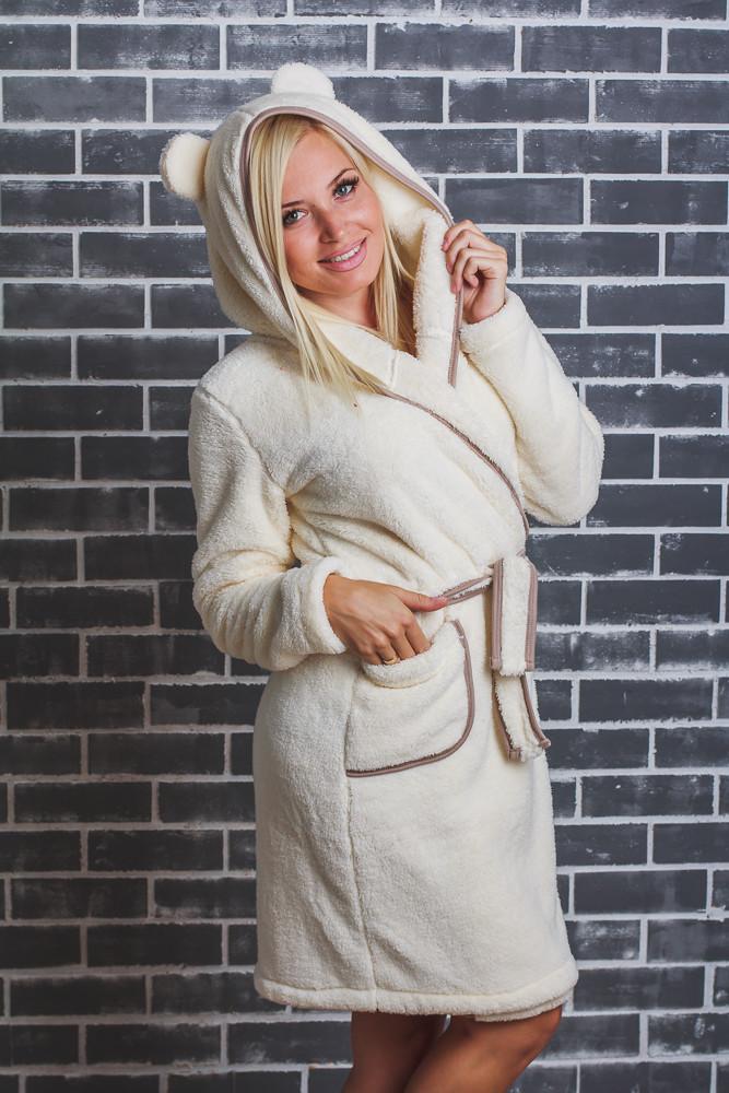 Махровый женский халат с ушками молочный (42-54)