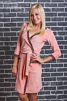 Женский  велюровый халат с поясом персик, фото 1