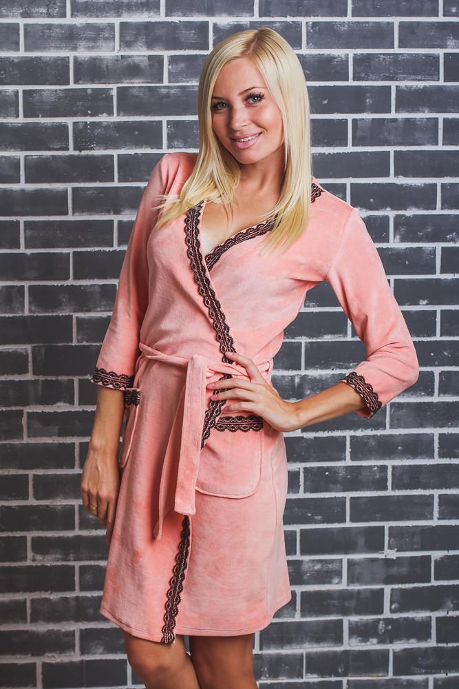 Женский  велюровый халат с поясом персик