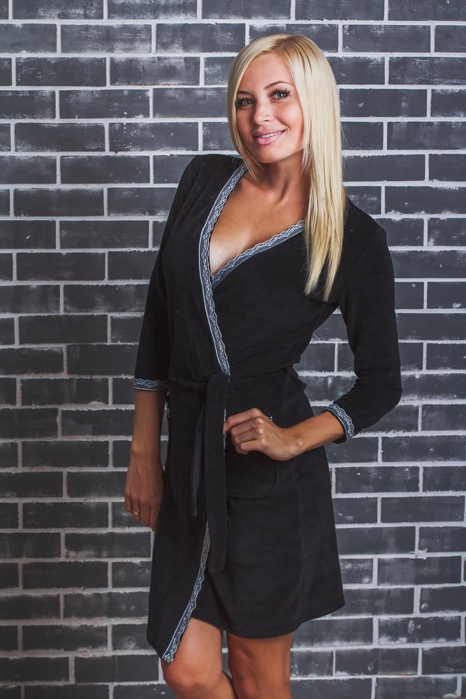Женский  велюровый халат с поясом черный