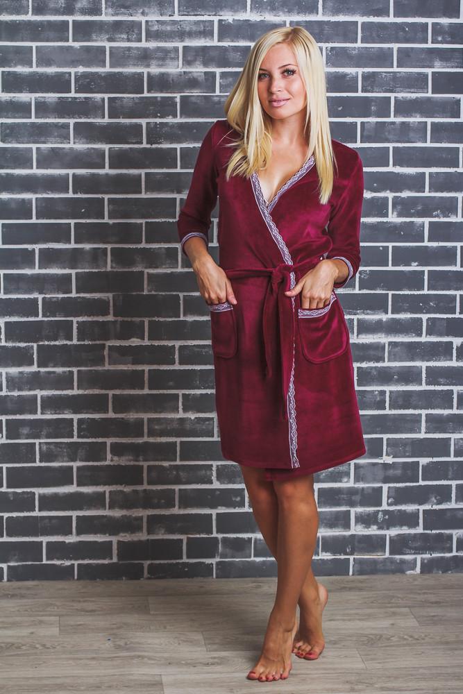 Женский  велюровый халат с поясом бордо