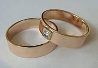 Кольца обручальные ОКБ1, комплект, золото 585 проба, бриллиант 0,049кт.