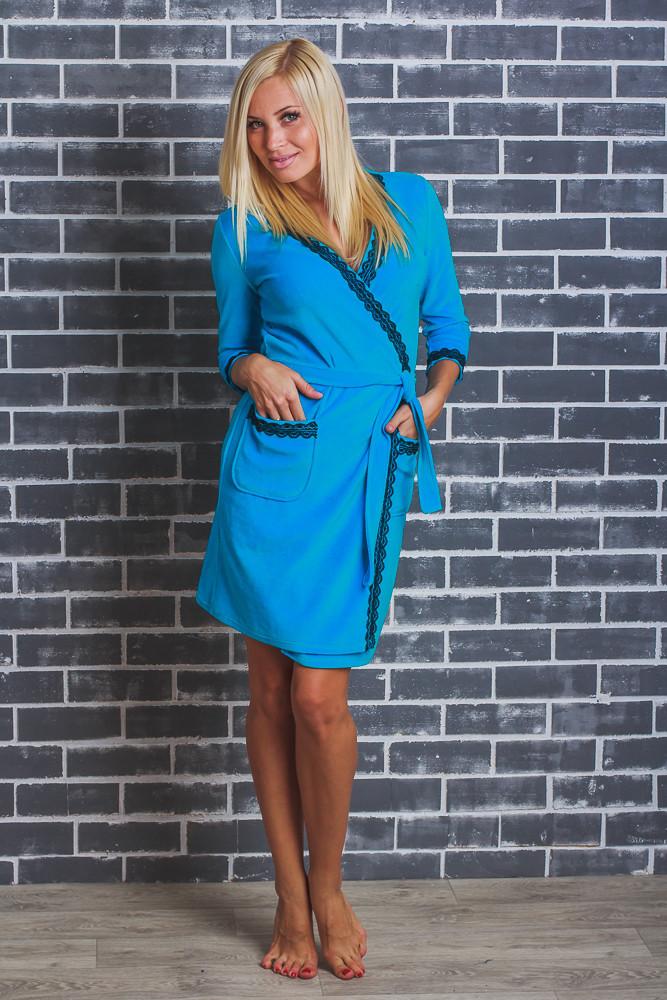 Женский  велюровый халат с поясом голубой