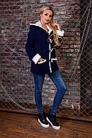 Женская теплая вязанная кофта с капюшоном размер универсальный