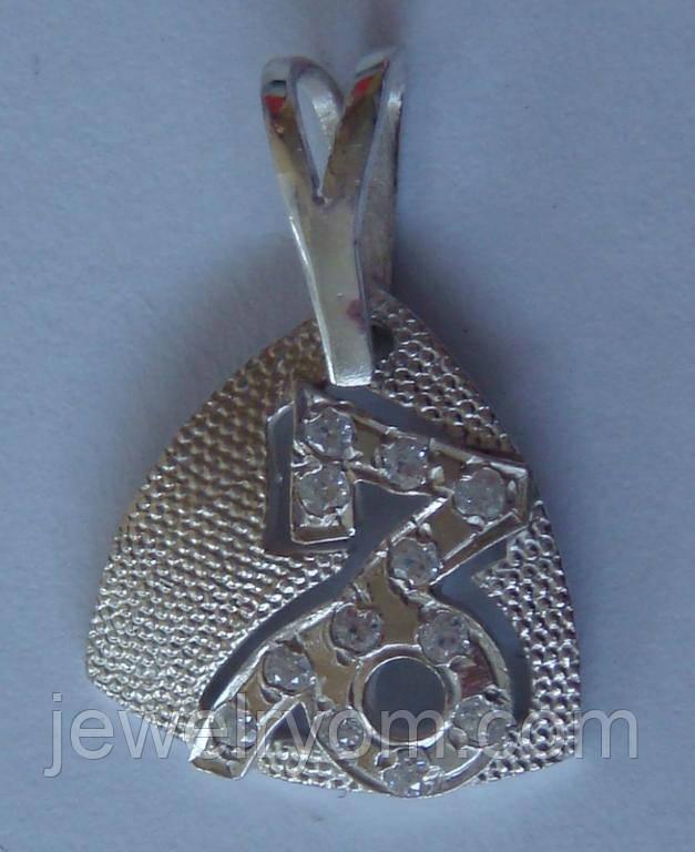 """Подвес """"Козерог"""" П0600М, серебро 925 проба, кубический цирконий."""