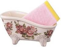 Фарфоровая подставка ванночка с губкой, фото 1