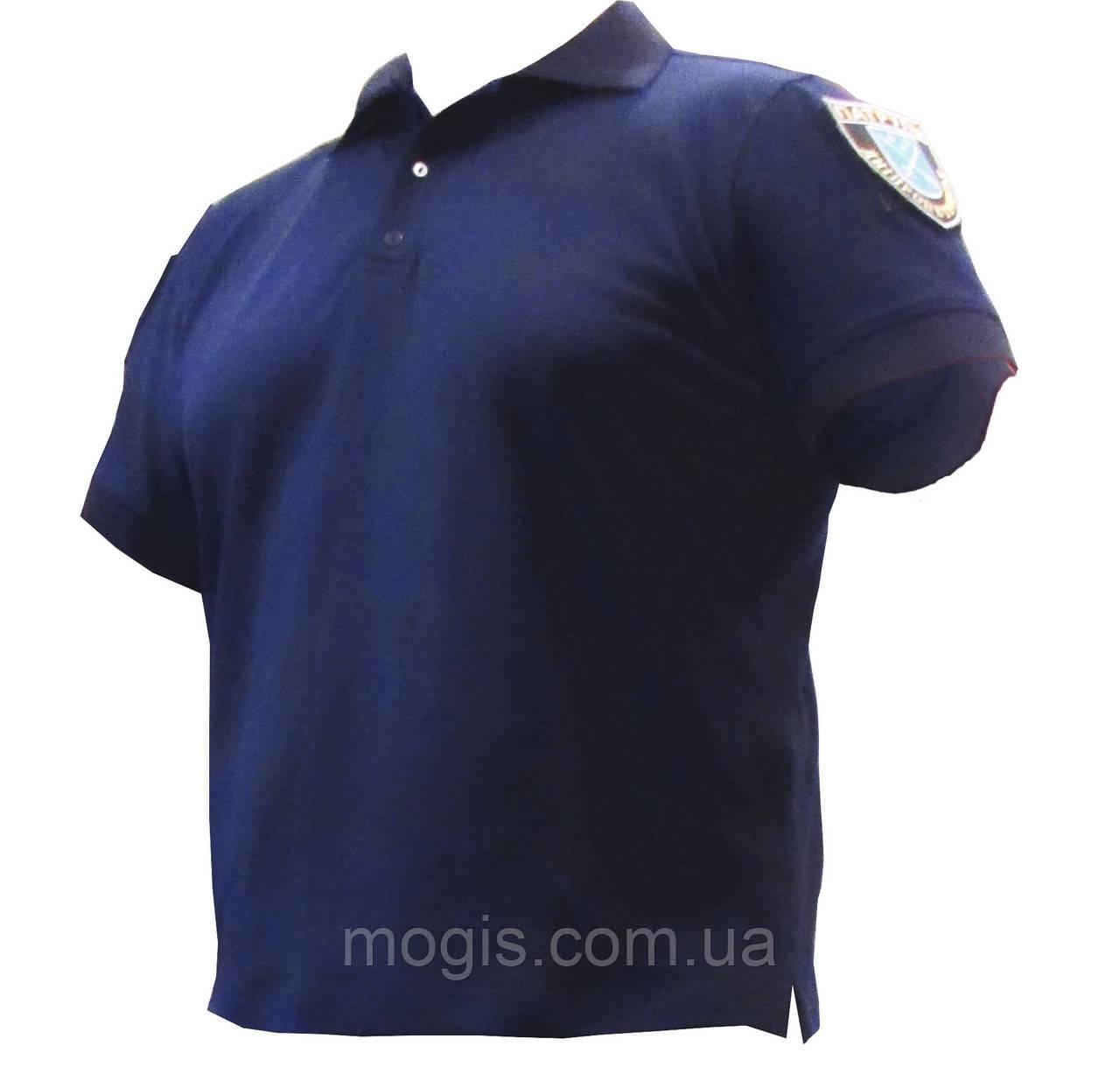 """Тенниска """"Поло"""" для полиции с карманчиком и петлей под жетон(цвет воронье крыло,темносиний)"""