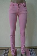 Цветные женские брюки- розовый-360-4