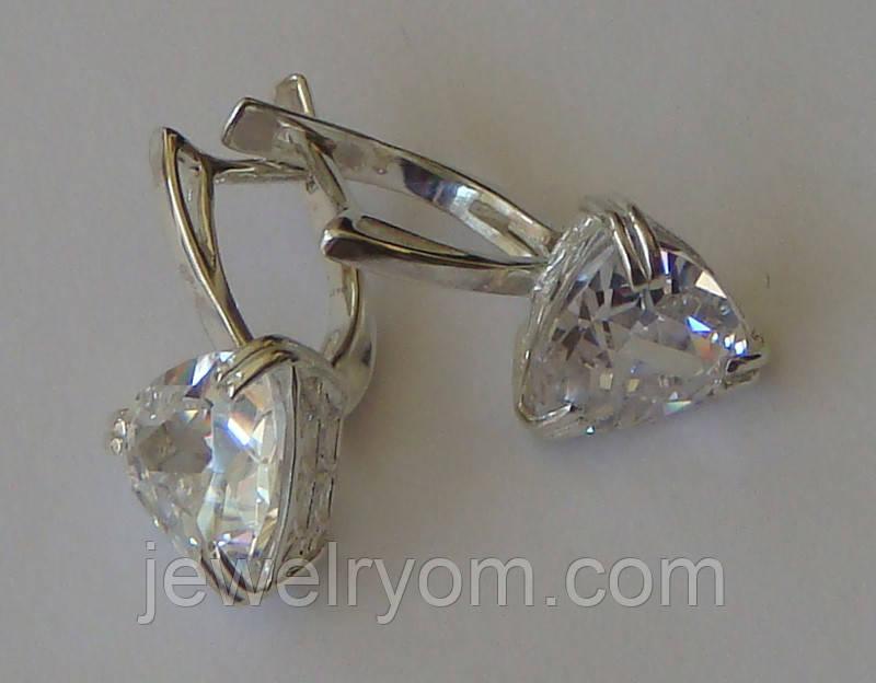 Серьги С00337Мб, серебро 925 проба, кубический цирконий.