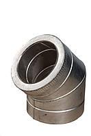 Колено 45° изолированного дымохода в кожухе из оцинкованной стали  600/660