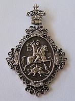 """Подвес-панагия """"Георгий Победоносец"""" 42011ММ, серебро 925 проба, кубический цирконий."""