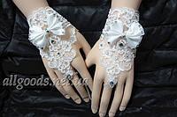 Перчатки кружевные свадебные короткие