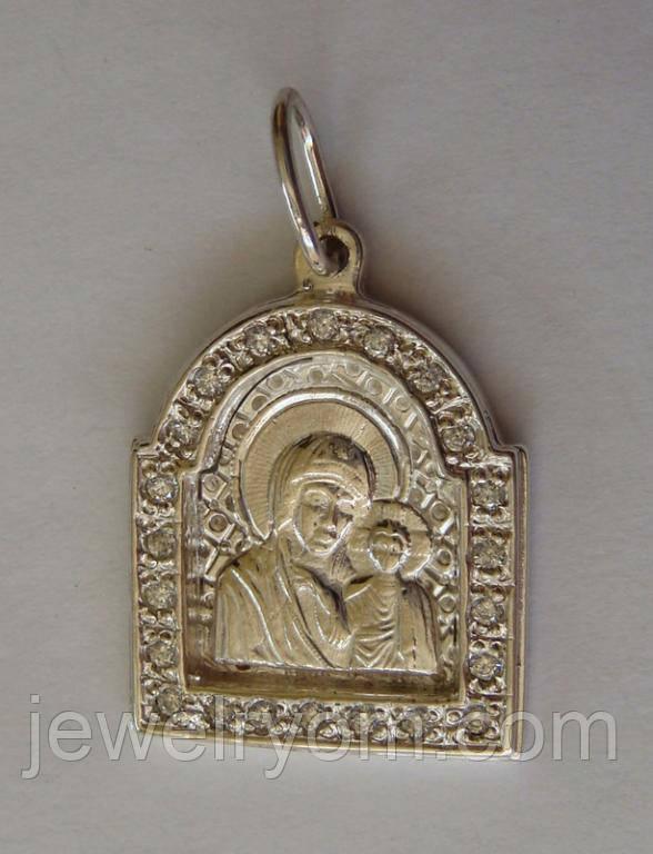 """Подвес-ладанка """"Богородица"""" 31060ММ, серебро 925 проба, цирконий."""
