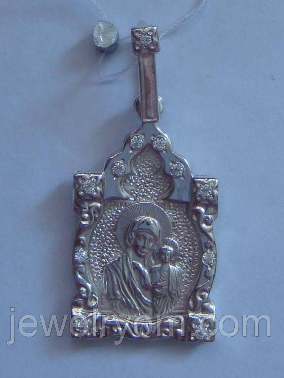 """Подвес-ладанка """"Божья матерь"""" 400220ЮМ, серебро 925 проба, цирконий."""