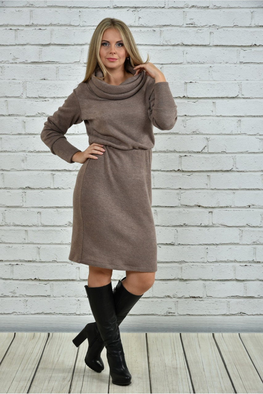 Женское  теплое платье из ангоры 0367 цвет бежевый размер 42-74 / большие размеры