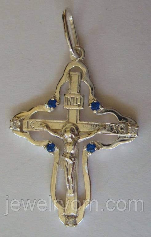 Підвіс хрест КР0060М, срібло 925 проба, кубічний цирконій.
