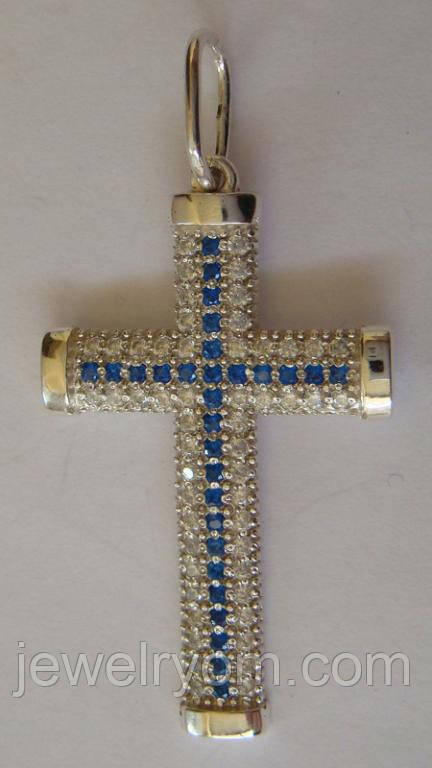 Подвес крест 410200ЮМ, серебро 925 проба, кубический цирконий.