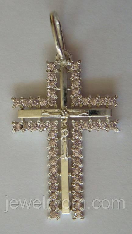 Подвес крест 50069Г, серебро 925 проба, кубический цирконий.