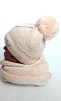 Комплект женский подросток шапка+хомут Кольчуга, флис