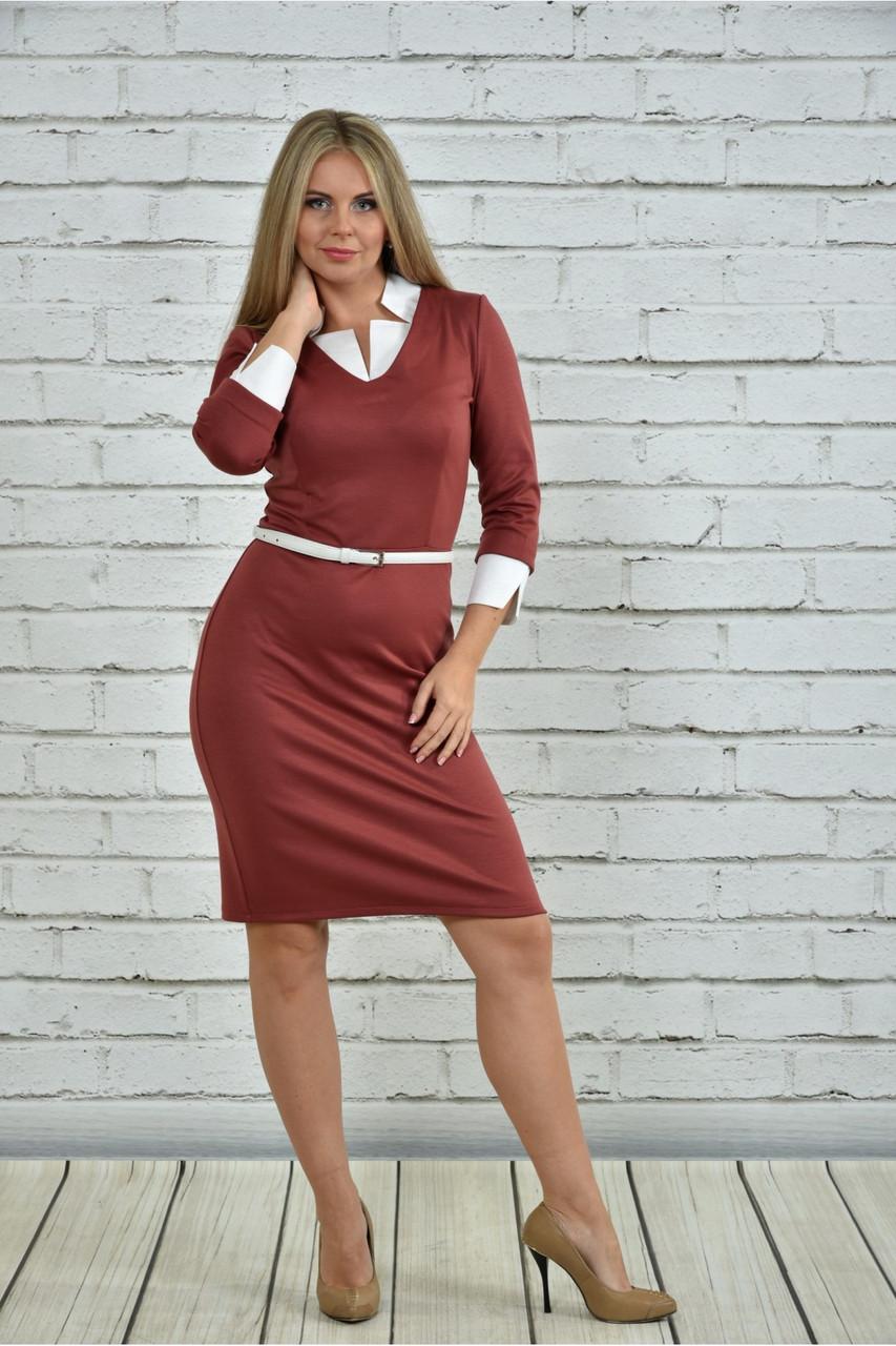 Женское офисное платье 0349 цвет терракот размер 42-74 / большие размеры