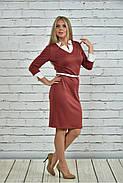 Женское офисное платье 0349 цвет терракот размер 42-74 / большие размеры, фото 2