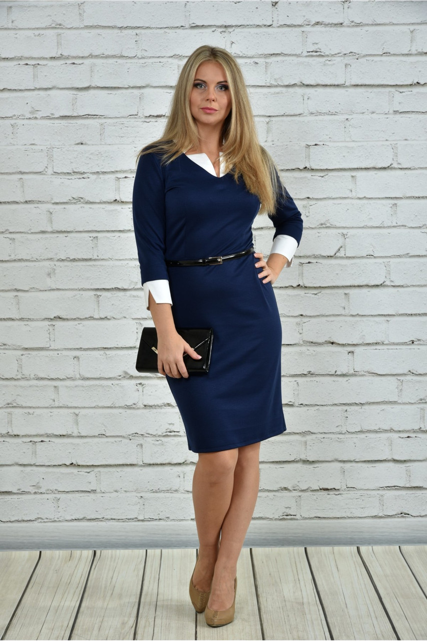 Женское офисное платье 0349 цвет синий размер 42-74 / большие размеры