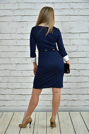 Женское офисное платье 0349 цвет синий размер 42-74 / большие размеры, фото 2