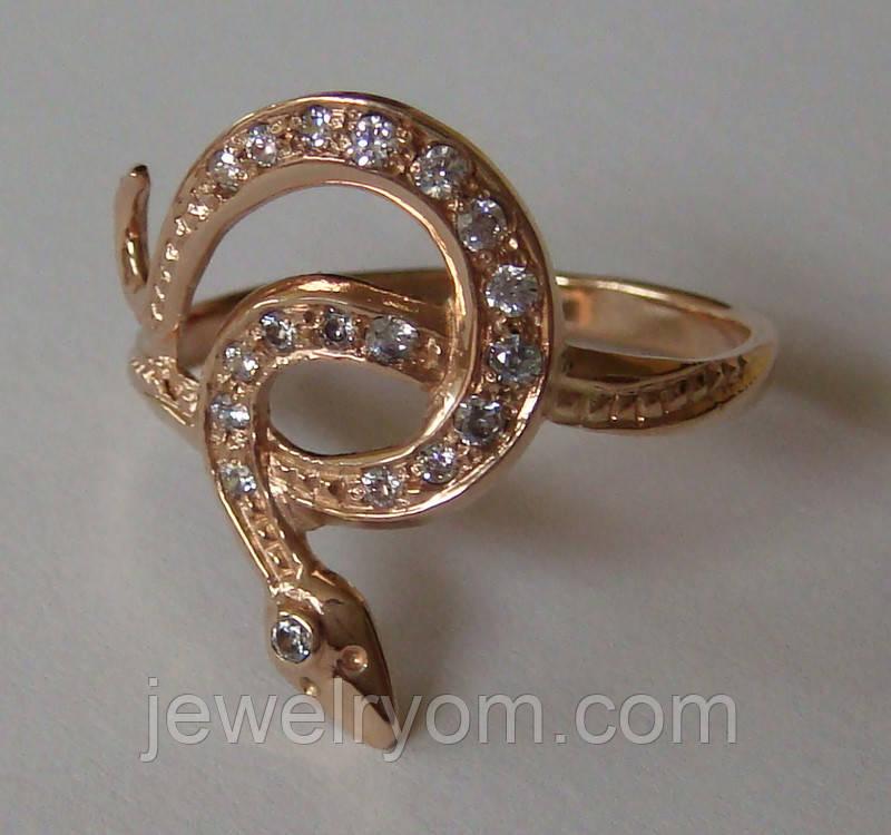 Кольцо 102050ЮМ, золото 585 проба, кубический цирконий.