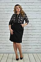Женское деловое платье 0348 цвет черный размер 42-74 / большие размеры
