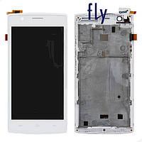 Дисплейный модуль (дисплей + сенсор) для Fly FS501, с передней панелью, белый, оригинал