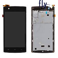 Дисплейный модуль (дисплей + сенсор) для Fly FS501, с передней панелью, черный, оригинал
