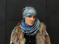 Снуд шарф с благородным принтом в акварельные огурцы