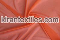 Купить ткань Стрейч сетка. Цвет оранжевый  неон.