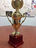 Кубок з ручками, кришкою і місцем під жетон h-26см C-856 (метал, пластик, h-26см, d чаши-8см, зол)
