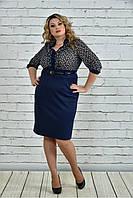 Женское деловое платье с шифоном 0321 цвет синий размер 42-74 / большие размеры