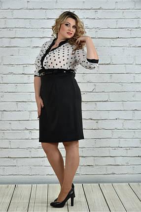 Женское деловое платье с шифоном 0321 цвет черно белый размер 42-74 / для полных девушек, фото 2
